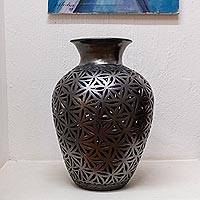 Ceramic decorative vase, 'Barro Negro Seeds' - Seed Pattern Barro Negro Ceramic Decorative Vase from Mexico