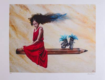 Print, 'Sketch' - Signed Surrealist Print of a Girl on a Pencil from Mexico