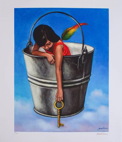 Print, 'Magic Passage' - Signed Surrealist Print of a Girl in a Bucket from Mexico