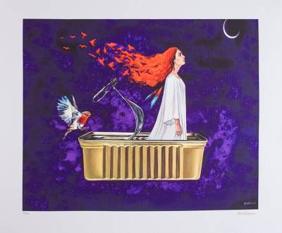 Print, 'Bird of Fire' - Signed Surrealist Print of a Girl in a Tin Can from Mexico