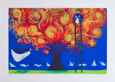 Print, 'Tree of Fire' - Signed Surrealist Print of a Fiery Tree from Mexico