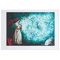 Print, 'Box of Memories' - Surrealist Print of a Girl with a Bird and Cat from Mexico