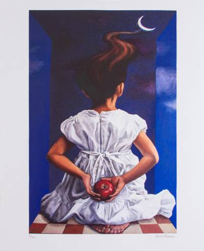 Print, 'Blue Thought II' - Surrealist Print of a Girl with an Apple from Mexico