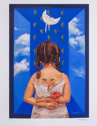 Print, 'Blue Thought I' - Girl with an Apple Surrealist Print from Mexico