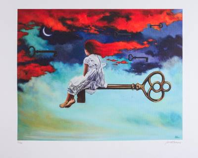 Print, 'Nocturnal Passage' - Signed Surrealist Print of a Girl on a Key from Mexico