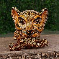 Ceramic wall sculpture, 'Jaguar Mama in Saffron' (small) - Ceramic Jaguar Mother Wall Sculpture in Saffron (Small)