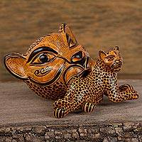 Ceramic wall sculpture, 'Jaguar Mama in Saffron' (large) - Ceramic Jaguar Mother Wall Sculpture in Saffron (Large)