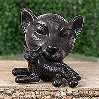 Ceramic wall sculpture, 'Jaguar Mama in Black' (large) - Ceramic Jaguar Mother Wall Sculpture in Black (Large)