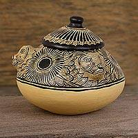 Ceramic decorative jar, 'Jaguar Container' - Jaguar Motif Ceramic Decorative Jar from Mexico