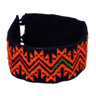 Tangerine Geometric Cotton Wristband Bracelet from Mexico