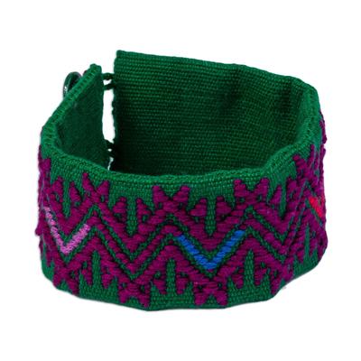 Aubergine Geometric Cotton Wristband Bracelet from Mexico