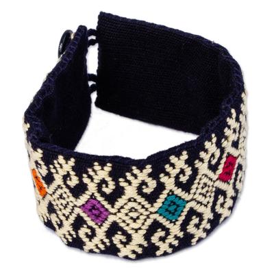 Ochre Geometric Cotton Wristband Bracelet from Mexico