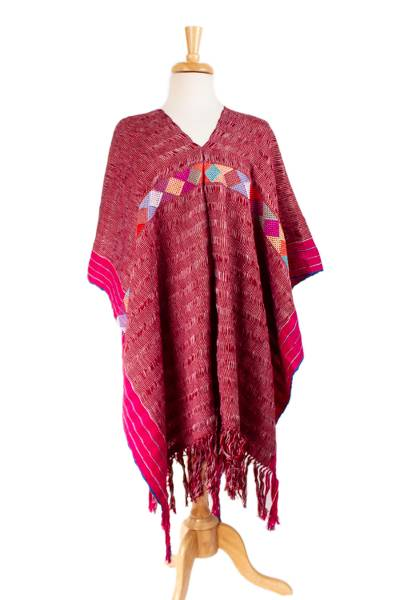 Handwoven Geometric Cotton Poncho in Claret from Mexico
