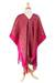 Cotton poncho, 'Autumn in the Afternoon' - Handwoven Geometric Cotton Poncho in Claret from Mexico (image 2d) thumbail