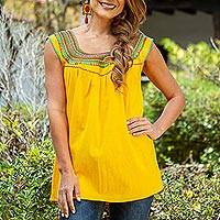 Cotton blouse, 'Marigold Summer' - Handwoven Saffron Cotton Sleeveless Blouse from Mexico