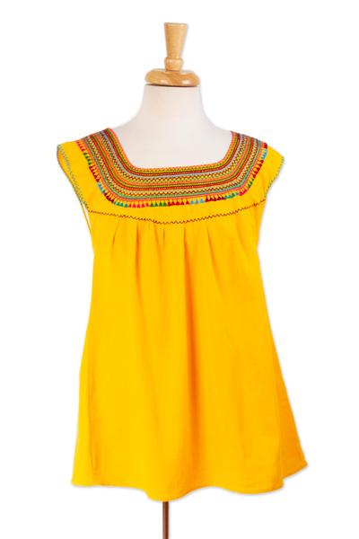 Cotton blouse, 'Marigold Summer' - Handwoven Saffron Cotton Sleeveless Blouse from Mexico