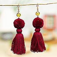 Amber tasseled dangle earrings, 'Lovely Tassels in Maroon' - Amber and Cotton Dangle Earrings in Maroon from Mexico