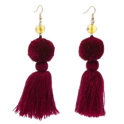 Amber and Cotton Dangle Earrings in Maroon from Mexico