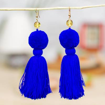 Amber tasseled dangle earrings, 'Lovely Tassels in Cobalt' - Amber Tasseled Dangle Earrings in Cobalt from Mexico