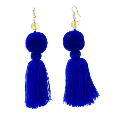 Amber Tasseled Dangle Earrings in Cobalt from Mexico