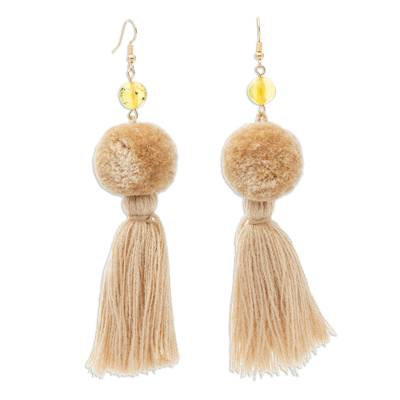 Amber and Cotton Dangle Earrings in Ivory from Mexico