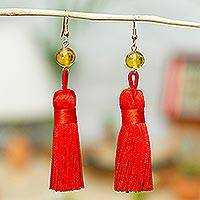 Amber tasseled dangle earrings, 'Cherry Desirable Tassels' - Amber Tasseled Dangle Earrings in Cherry from Mexico
