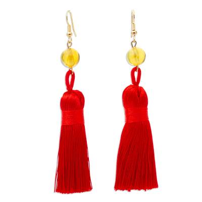Amber Tasseled Dangle Earrings in Cherry from Mexico