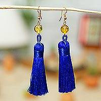 Amber tasseled dangle earrings, 'Ultramarine Desirable Tassels' - Amber Tasseled Dangle Earrings in Ultramarine from Mexico