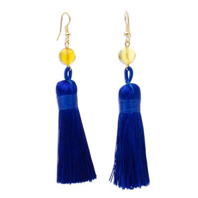 Amber Tasseled Dangle Earrings in Ultramarine from Mexico