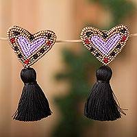 Glass beaded drop earrings, 'Nighttime Hearts' - Heart-Shaped Glass Beaded Drop Earrings with Black Tassels