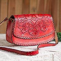 Leather handbag, 'Scarlet Bouquet' - Floral Pattern Scarlet Leather Handbag from Mexico