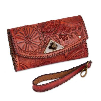Floral Leather Handbag in Russet from Mexico