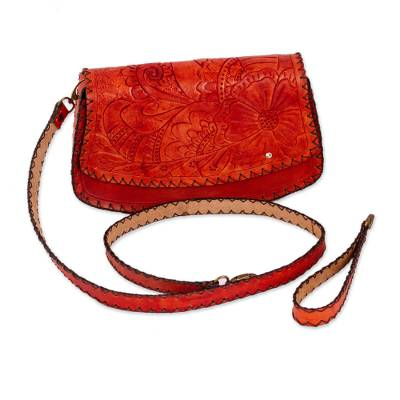 Light Red Floral Leather Handbag from Mexico
