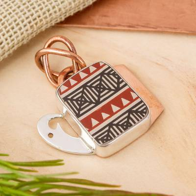 Silver and ceramic pendant necklace, 'Paquime Tradition' - Hand-Painted Cultural Silver and Ceramic Pendant from Mexico