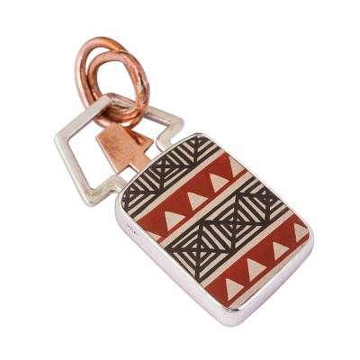 Arrow Pattern Cultural Silver and Ceramic Pendant