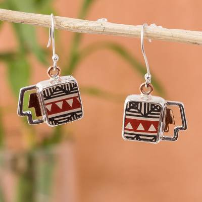 Silver and ceramic dangle earrings, 'Paquime Forms' - Geometric Cultural Silver and Ceramic Dangle Earrings