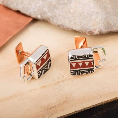 Silver and ceramic cufflinks, 'Paquime Forms' - Geometric Silver and Ceramic Cufflinks from Mexico