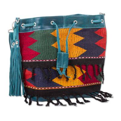 Cotton Accented Leather Handbag in Pine Green from Mexico