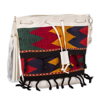Cotton Accented Leather Handbag in Alabaster from Mexico