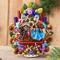 Ceramic sculpture, 'Mariachi Tree of Life' - Hand-Painted Mariachi-Themed Ceramic Sculpture from Mexico