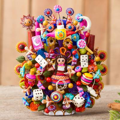 Ceramic sculpture, 'Mexican Toys' - Hand-Painted Toy-Themed Ceramic Sculpture from Mexico