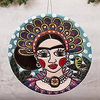 Ceramic wall art, 'Plumed Frida' - Ceramic Wall Art of Frida with a Headdress from Mexico