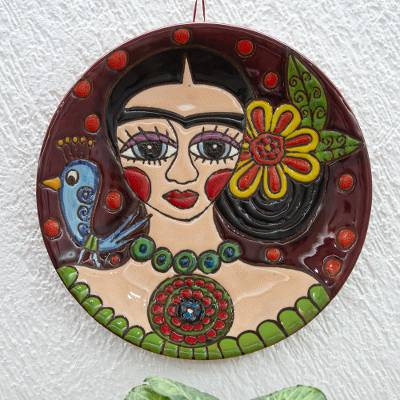 Ceramic wall art, 'Burgundy Frida' - Handmade Ceramic Frida Wall Art from Mexico