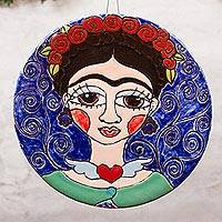 Ceramic wall art, 'Frida and Her Flowers' - Floral Frida-Themed Ceramic Wall Art from Mexico