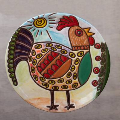Ceramic wall art, Rooster Under the Sun