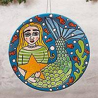 Ceramic wall art, 'Mermaid and Starfish' - Handmade Ceramic Mermaid Wall Art from Mexico