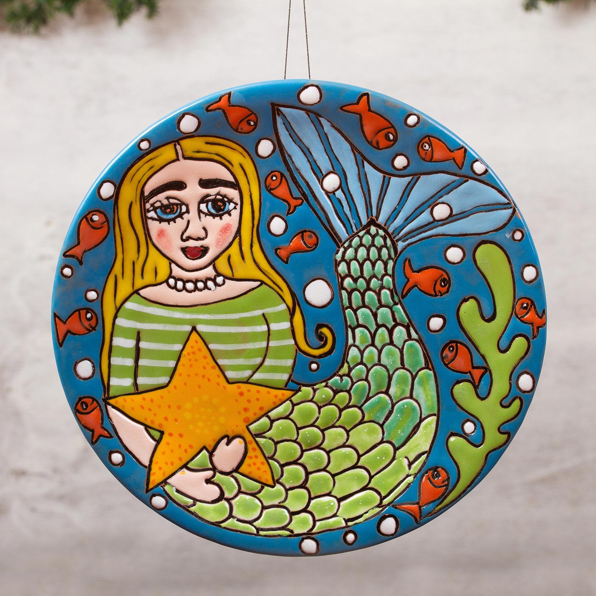 Handmade Ceramic Mermaid Wall Art From Mexico Mermaid And Starfish Novica
