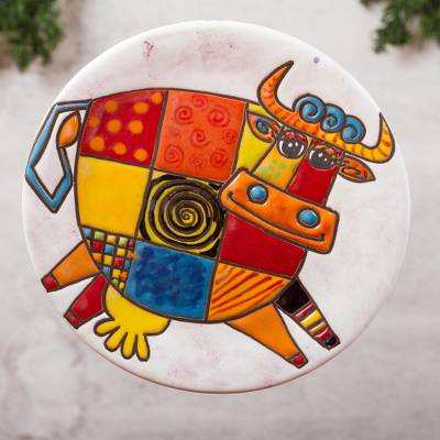 Ceramic wall art, Whimsical Cow