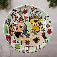 Ceramic wall art, 'Animal Trio' - Animal-Themed Ceramic Wall Art from Mexico