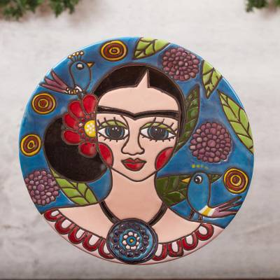 Ceramic wall art, 'Elegant Frida' - Frida-Themed Ceramic Wall Art Crafted in Mexico